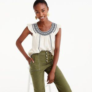 J Crew Point Sur Embroidered Linen Top Size S